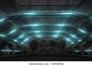 3d illustration of futuristic design spaceship interior. Render