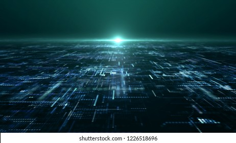 3D illustration, futuristic digital matrix particles grid virtual reality abstract cyber space environment background
