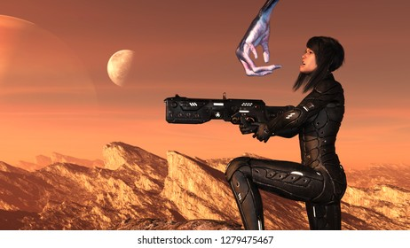 3d illustration of a futuristic female soldier kneeling in terror as an alien reaches for her face on a red world.