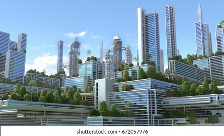 "3D Illustration of a futuristic ""green"" city with highrise buildings and terraces covered in vegetation, for environmental architecture backgrounds."