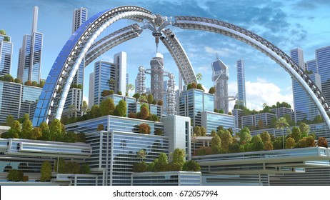 "3D Illustration of a futuristic ""green"" city with an arched structure and highrise buildings with terraces covered in vegetation, for environmental architecture backgrounds."
