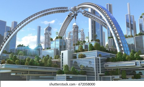 """3D Illustration of a futuristic """"green"""" city with an arched structure and highrise buildings with terraces covered in vegetation, for environmental architecture backgrounds."""