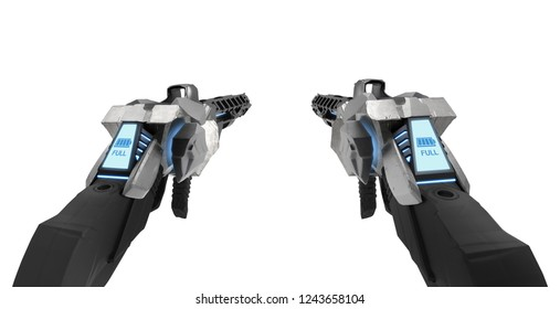 3d illustration of a futuristic metal guns with neon ammo indicator display from first person view isolated on white background.