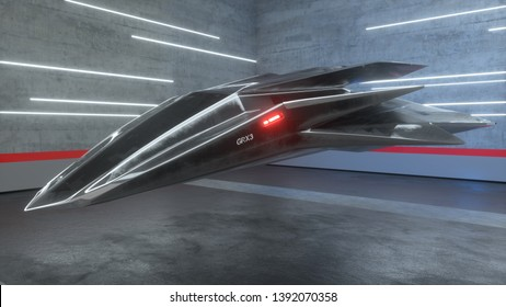 3D illustration of futuristic military streamlined aircraft spaceship hovering in car repair shop garage