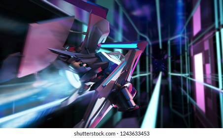 3d illustration of a futuristic neon colored sci-fi spaceship aircraft flying on led lightened tunnel background third person rear view.