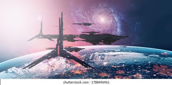 3D illustration. Futuristic science fiction scenery. Spacecraft concept art. Space art.