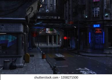 3D Illustration of a futuristic urban Scene
