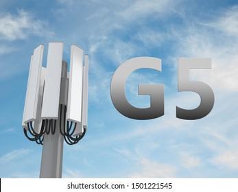 3D illustration of G5 script beside a communication pole