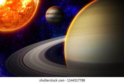 3D Illustration of galaxy space in the view from Saturn and see the Sun and Jupiter