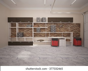 3D illustration of garage interior