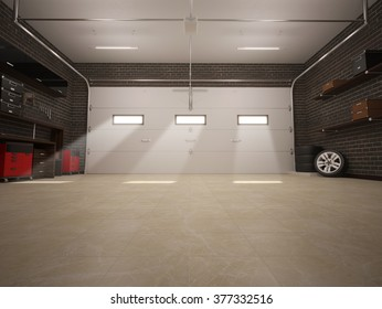 3D illustration of garage interior