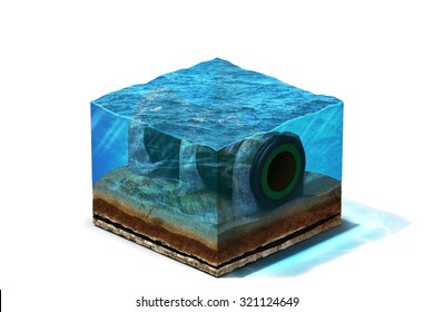 3d Illustration of gas pipeline lying on section of ocean bottom under water, isolated on white background