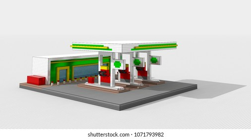 3D illustration of gas station