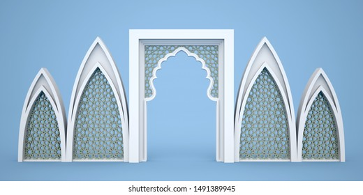 3d illustration gate entrance islamic ornament texture for event exhibition. High resolution image isolated.