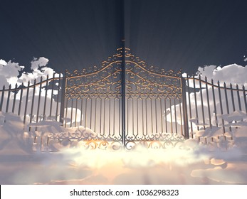 3d illustration of a gate in the sky