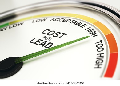 3D illustration of a gauge for analyzing cost per lead amount