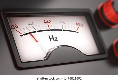 3D illustration of a gauge with needle pointing to 432 Hz (hertz). Concept of music tuning and frequency change.
