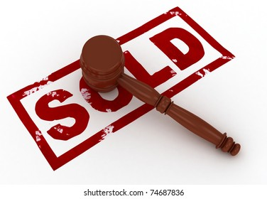 3D Illustration of a Gavel Placed Above the Word Sold