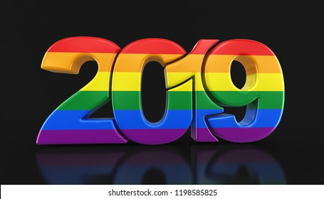 3d illustration. Gay Pride Color  New Year 2019. Image with clipping path.