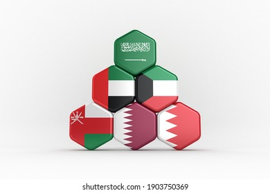 3D illustration of GCC Country Flags arranged in Hexagional Array