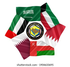 3D illustration of GCC Country Flags arranged in around the GCC Logo