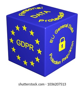 3D illustration. GDPR concept cube isolated. General Data Protection Regulation. Personal Data Protection Law. Protect Data Privacy. Personal Data Security. 25 May 2018 - GDPR Enforcement date.