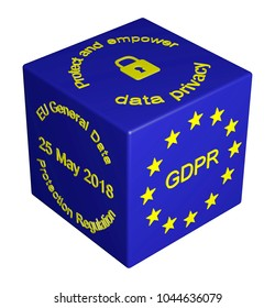 3D illustration. GDPR concept cube isolated. General Data Protection Regulation. Personal Data Protection. Protect Data Privacy. Personal Data Security. 25 May 2018 - GDPR Enforcement date.