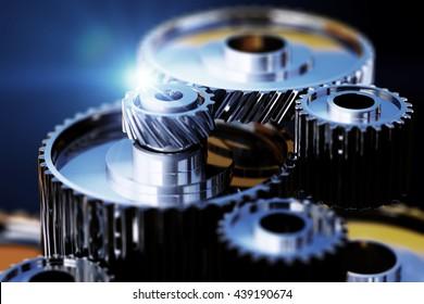 3d illustration of gear metal wheels close-up