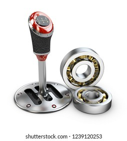 3d illustration of gear shift with bearings, isolated on white