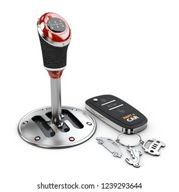 3d illustration of gear shift with car key, isolated on white