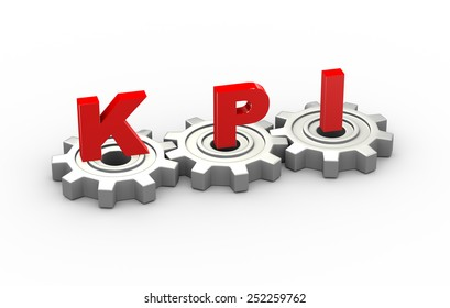 3d illustration of gears and kpi key performance indicator concept