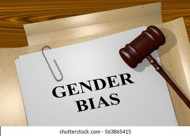 """3D illustration of """"GENDER BIAS"""" title on legal document"""