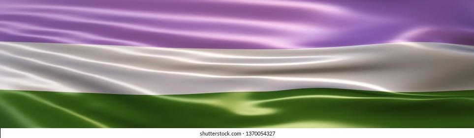 3D Illustration of the Genderqueer Pride Flag rendered in large wide format