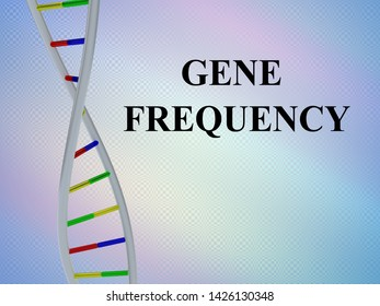 3D illustration of GENE FREQUENCY script with DNA double helix , isolated on colored gradient.