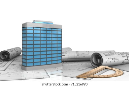 3d illustration of generic building over white background