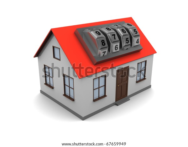 3d illustration of generic house with combination lock over white background