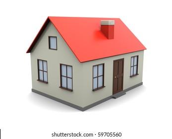 3d illustration of generic house model over white background