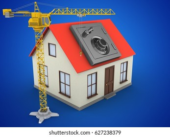 3d illustration of generic house over blue background with safe and crane