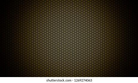 3D Illustration - genesis pattern - the flower of life gold black 2
