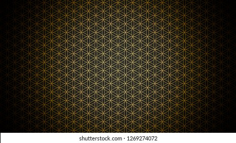 3D Illustration - genesis pattern - the flower of life gold black