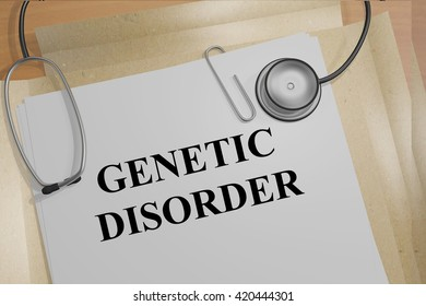 """3D illustration of """"GENETIC DISORDER"""" title on medical documents. Medicial concept."""