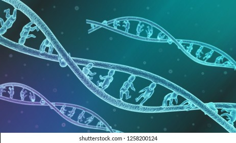 3d illustration of Genetically modified DNA babies concept