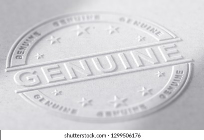 3d illustration of a genuine stamp embossed on paper background