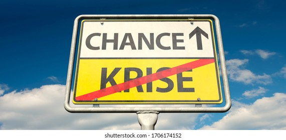 "3D illustration, A German place-name sign with the German words ""Krise"" (Crisis) and ""Chance"""