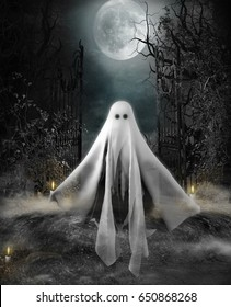 3D illustration of a ghost hovering at the entrance to an eerily lit yard under a full moon. Halloween concept.
