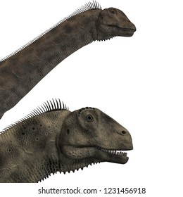 3D illustration of a giant dinosaur Atlasaurus over white