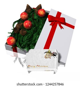 3D illustration. Gift Packages with Christmas decoration. white background.