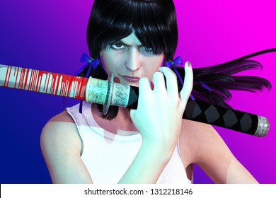 3D Illustration of a Girl With a Katana Sword