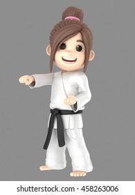 3d illustration of a girl in kimono doing karate