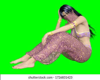 3D illustration of girl with long dark hair in sitting position wearing fantasy Arabian nights harem costume with veil isolated on green background